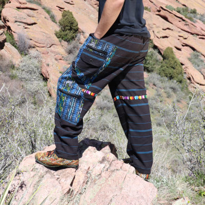 sustainable upcycled men's tribal Mayan cargo pant festival fashion